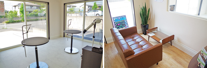 広いトリミング室と待合室